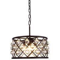 1213 Madison Collection Pendant Lamp,16''x9'',Polished Nickel, Mocha Brown