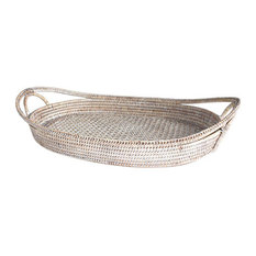 """White Wash Rattan Oval Open Handle Tray 21"""""""