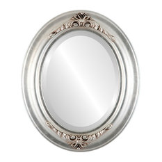 """Winchester Framed Oval Mirror in Silver Leaf with Brown Antique, 23""""x29"""""""