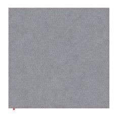 David Light Grey Hall Rug, Neon Orange Stitching, 120x120 cm