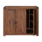 Shiro Walnut 3-Door Shoe Cupboard