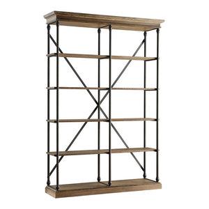 Eleanor Cornice 5-Shelf Double Bookcase, Brown