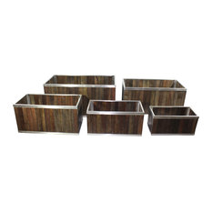 18 x 36 Rectangular Wooden Planter with Stainless Steel Trim