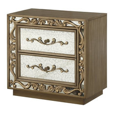 ACME Orianne 2 Drawer Mirrored Nightstand in Antique Gold