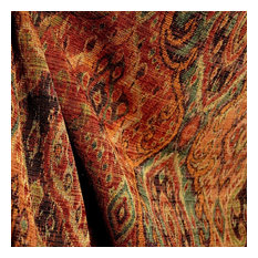 barrow - M9842 Garnet Rust Orange Green Black Tapestry Damask Upholstery Fabric, Sample - Drapery Fabric