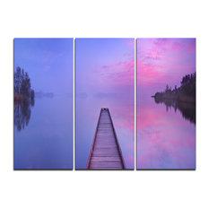 """Jetty in a Dawn Lake"" Canvas Wall Art, 3 Panels, 36""x28"""