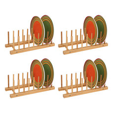 Multi Purpose Bamboo Plate Holder and Pot Lid Organizer, Set of 4