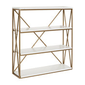 Ascencio 4-Layer Wood and Metal Wall Shelves, White 22x6x24.25