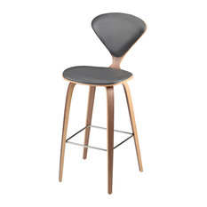 Satine Leather Stool Matte Gray Counter Height