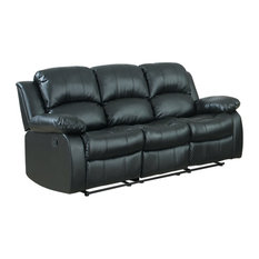 Divano Roma Furniture   Recliner 3 Seater Sofa Black Over Stuffed Bonded  Leather Chair