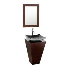 Esprit 20-inch Espresso Pedestal Vanity Altair Black Granite Smoke Glass