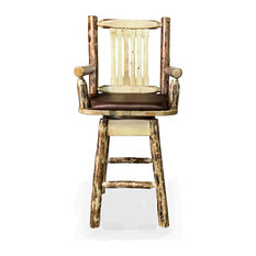 Montana Woodworks Glacier Country Collection Captain S Bar Stool Back And Swivel Saddle Pattern