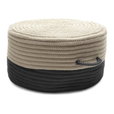 "Two-Tone Pouf Rug, Black 20""x20""x11"""