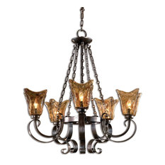 Vetraio 5 Light Oil Rubbed Bronze and Amber Glass Chandelier
