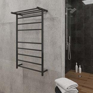 Idéer för mellanstora funkis en-suite badrum, med bänkskiva i koppar