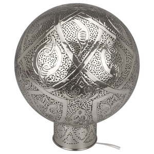Harem Perforated Table Lamp, Bright Silver, Large