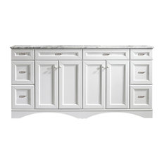 Naples 72-inch Vanity In White With Carrara White Marble Countertop Without Mirror