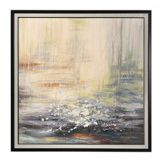 "Oversize 48"" Square Waves Sun Seascape Painting, Blue Yellow White Rust Ocean"