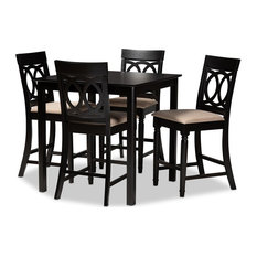 Baxton Studio Verina Upholstered 5-Piece Wood Pub Set, Sand/Espresso