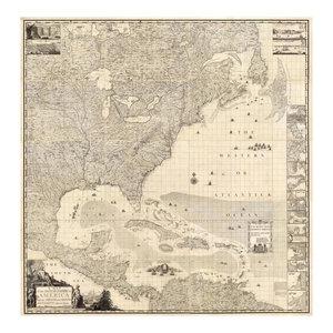 18x18 1733 The British Empire in America Vintage Historic Map