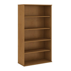 Modern Tall Bookcase, Flexible Storage With 3 Adjustable Shelves, Natural Cherry