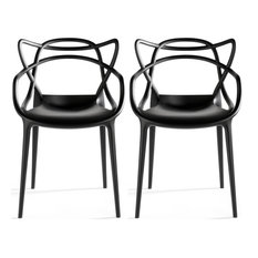 Stackable Molded Plastic Dining Chair With Arms Kitchen Outdoor Modern Set of 2,