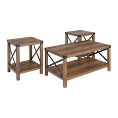 3-Piece Rustic Wood & Metal Accent Table Set Rustic Oak