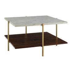 2-Piece Square Coffee Table Set White Faux Marble/Gold by Walker Edison