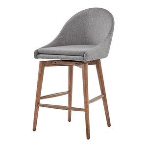 "Keeler Walnut Danish Modern Swivel Stool, Set of 2, Grey, 25"" Counter"