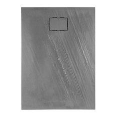Rockstone Textured Rectangular Shower Tray, Slate Grey, 120x90 cm