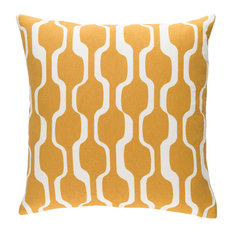 """Modern Cotton Mustard and White Accent Pillow, 18""""x18"""""""