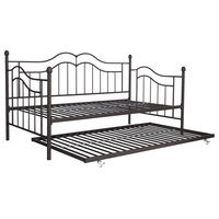Traditional Twin Size Daybed and Trundle, Metal Frame Brushed, Bronze Finish