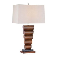 Minka Lavery One Light Portable Table Lamp with Linen Fabric Shade