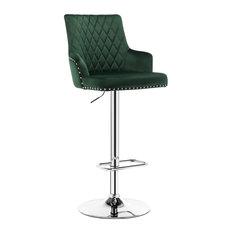 Velvet Bar Stools Counter Height Adjustable Kitchen Barstools, Dark Green