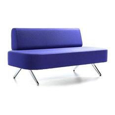 Boomerang Straight Sofa, Orange Leatherette, Matte Chrome Base