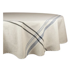 "DII Black French Stripe Tablecloth 70"" Round"