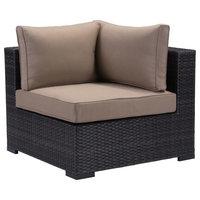 Zuo Bocagrande Vive Corner Chair, Brown and Beige