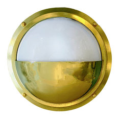 Half Moon Nautical / Industrial Bulkhead Sconce (Indoor / Outdoor / Solid Brass)