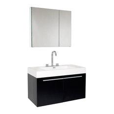 Fresca Vista Black Vanity w/ Medicine Cabinet