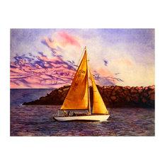 """Mike Bennett Sailboat 1980 Art Print, 9""""x12"""""""
