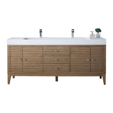 Linear 72-inch Double Vanity White Washed Walnut W/ Glossy White Solid Surface Top