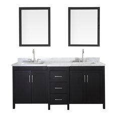 """Hollandale 73"""" Double Sink Vanity Set, Black"""