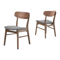 GDF Studio Lucille Fabric/ Wood Dining Chair (, Dark Gray/Walnut, Set of 2