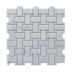 "12""x12"" Carrara White Basketweave Mosaic, Carrara White Dots Polished"