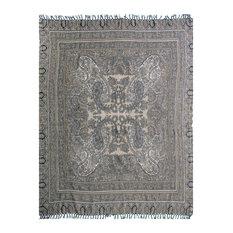 Vintage Paisley Boiled Wool Throw, Black, Gray