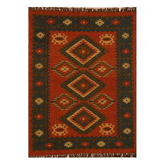 SAI Resources LLC   Handwoven Jute And Wool Diamond Rug, Red, Black, And