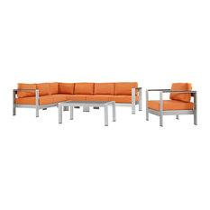 Shore 6-Piece Outdoor Aluminum Sectional Sofa Set, Silver Orange