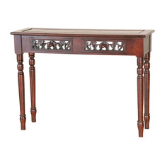 International Caravan Windsor 2 Drawer Console Table In Walnut Stain