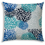 """Joita - BURSTING BLOOMS Aqua Indoor/Outdoor Pillow - Do you LOVE hanging out outside? Making your outdoor space comfortable AND beautiful? Well, so do we! There's not a more budget friendly way to make your outdoor area look fresh and inviting then adding an outdoor pillow, placemat, or even 2 or 3! BURSTING BLOOMS (aqua) is a brightly colored pillow in turquoise, azure, navy, seafoam and white. Bold flowers cover the pillow to make a dynamic and beautiful statement. Choose from lumbar (14"""" x 20""""), chair size (18"""" x 18""""), sofa size (20"""" x 20"""") or back cushion size (23.5"""" x 26"""") - perfect when you want an inexpensive way to replace your back cushions with a little pop! Whichever you choose, it will be resistant to mildew, water, stains, and fading. And don't worry about cleaning - just brush off the loose dirt or gently hose them down."""