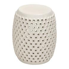 Ceramic Pierced Foot Stool , White